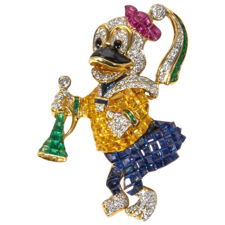 Unique Sapphire Ruby Emerald Diamond Duck Pin For Sale