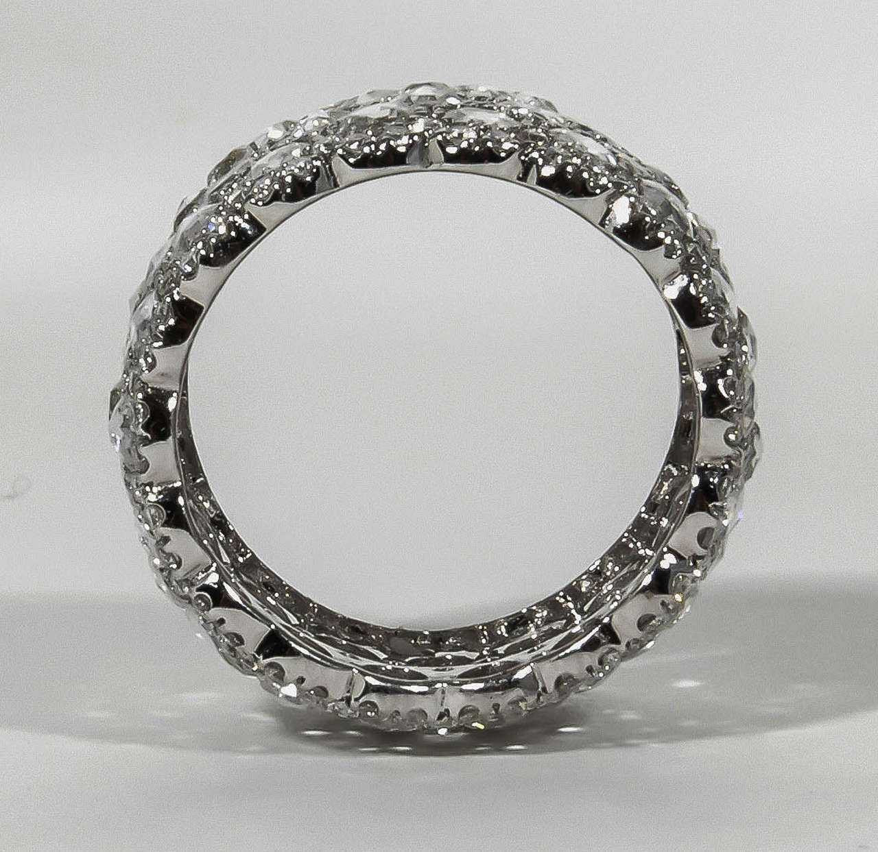 Women's Unique Wide Rose and Full Cut Diamond Band Ring For Sale
