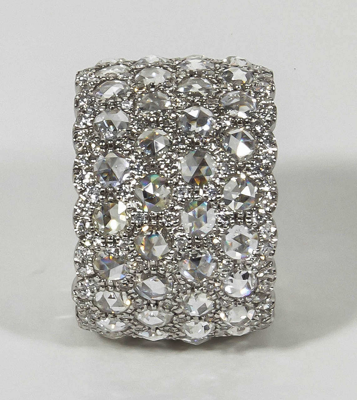 Unique Wide Rose and Full Cut Diamond Band Ring For Sale 1