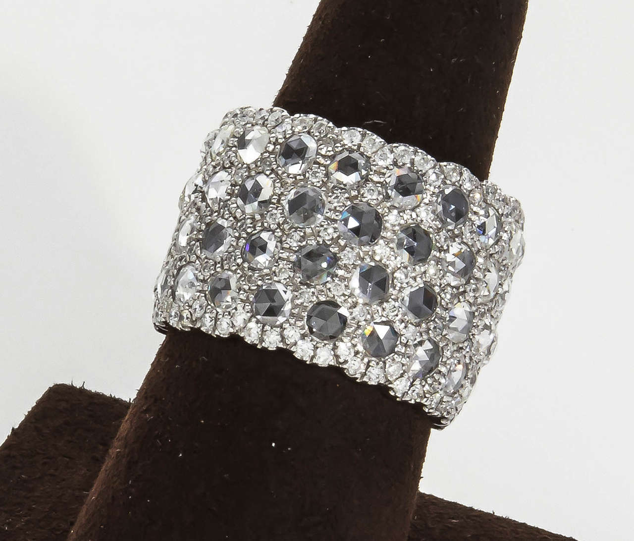 Unique Wide Rose and Full Cut Diamond Band Ring For Sale 2