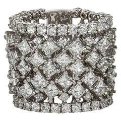 Unique Multi Shape Wide Diamond Gold Band Ring