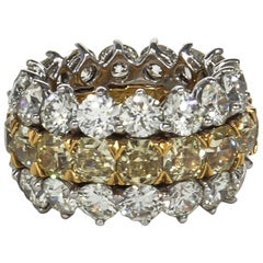 Fabulous Yellow and White Diamond Wide Band Ring