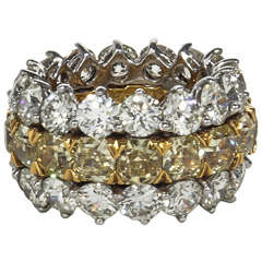 Fabulous Yellow and White Diamond Wide Band Ring
