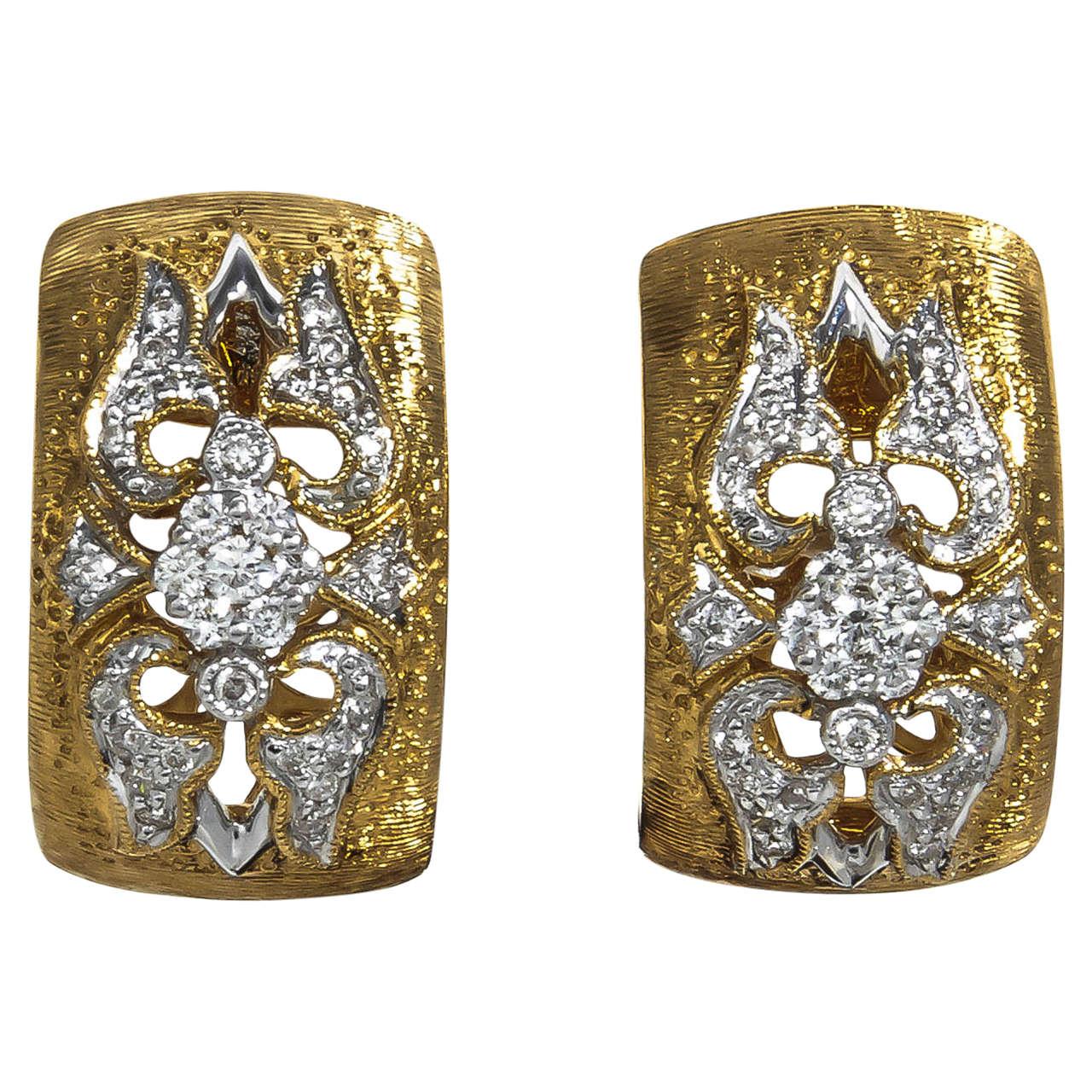 Diamond Gold Huggie Hoop Earrings