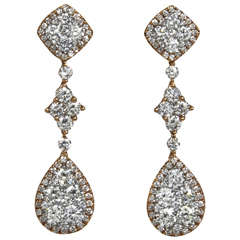 Classic Diamond Gold Drop Earrings