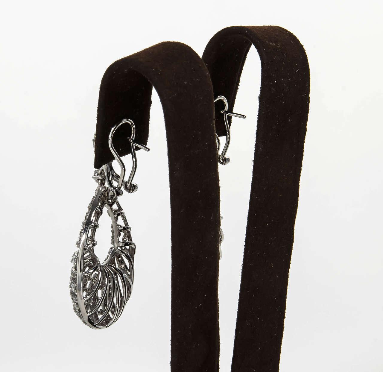 Pear Shaped Diamond Gold Dangle Earrings For Sale 2