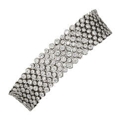 Multisize Round Diamond Gold Mesh Bracelet