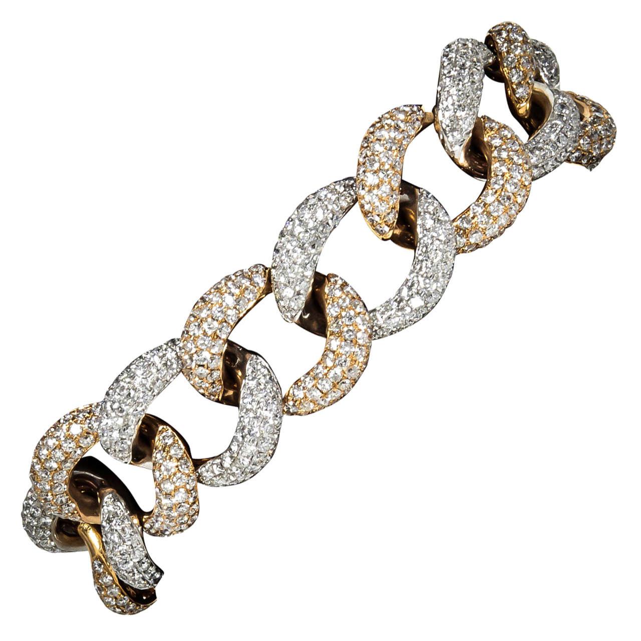 Diamond Two-Color Gold Link Bracelet