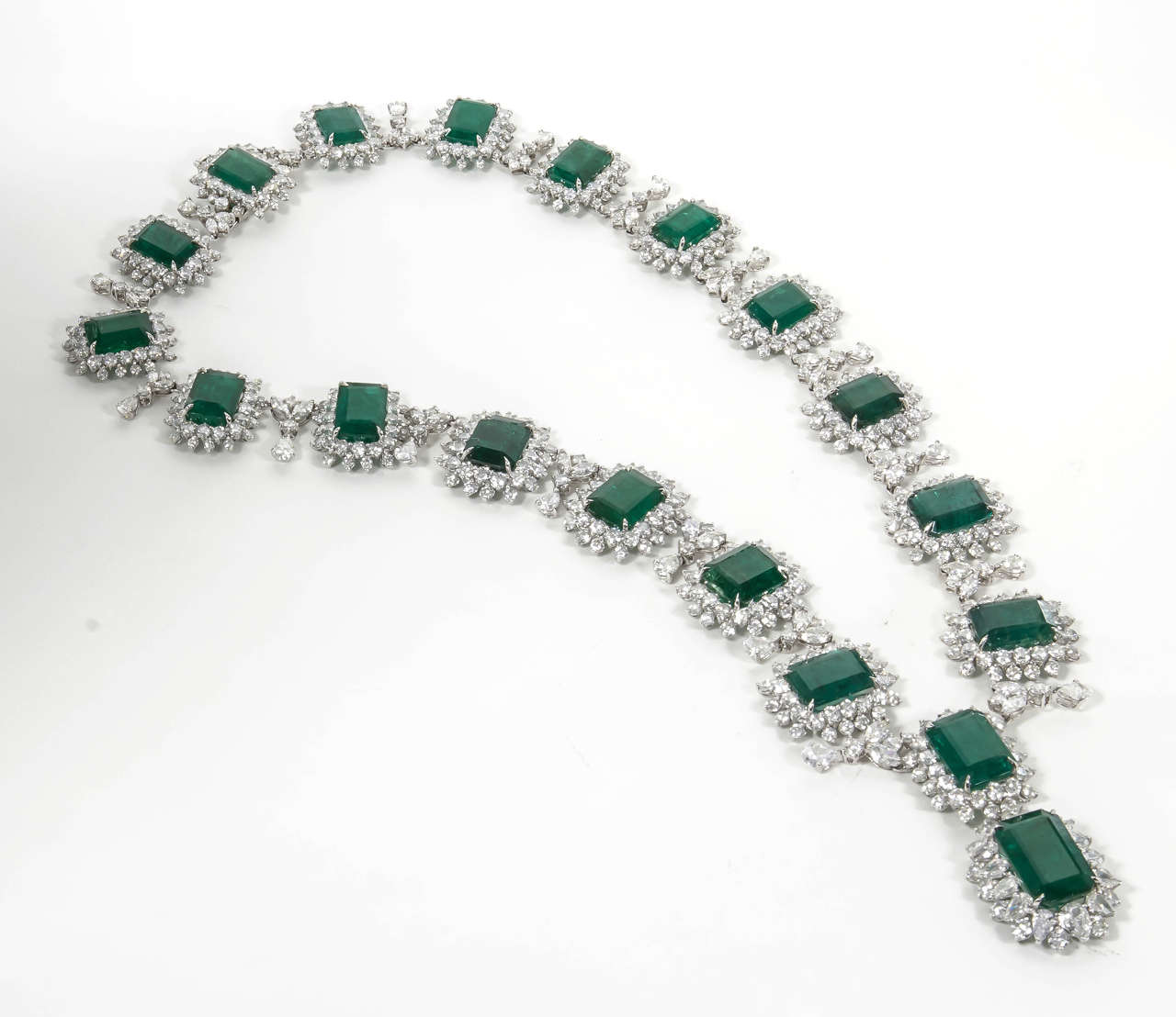 Iconic Emerald Diamond Platinum Drop Necklace 2