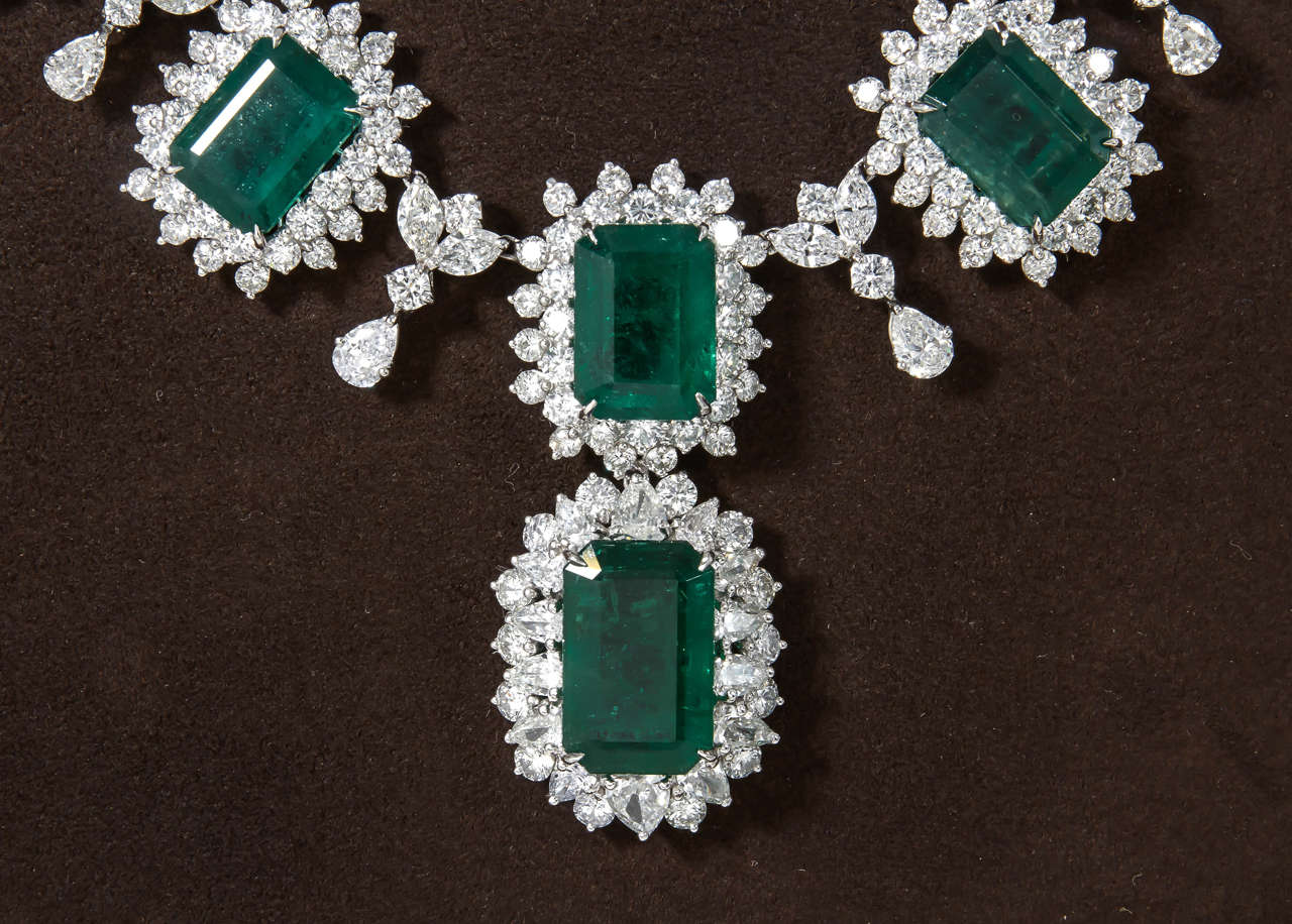 Iconic Emerald Diamond Platinum Drop Necklace 5