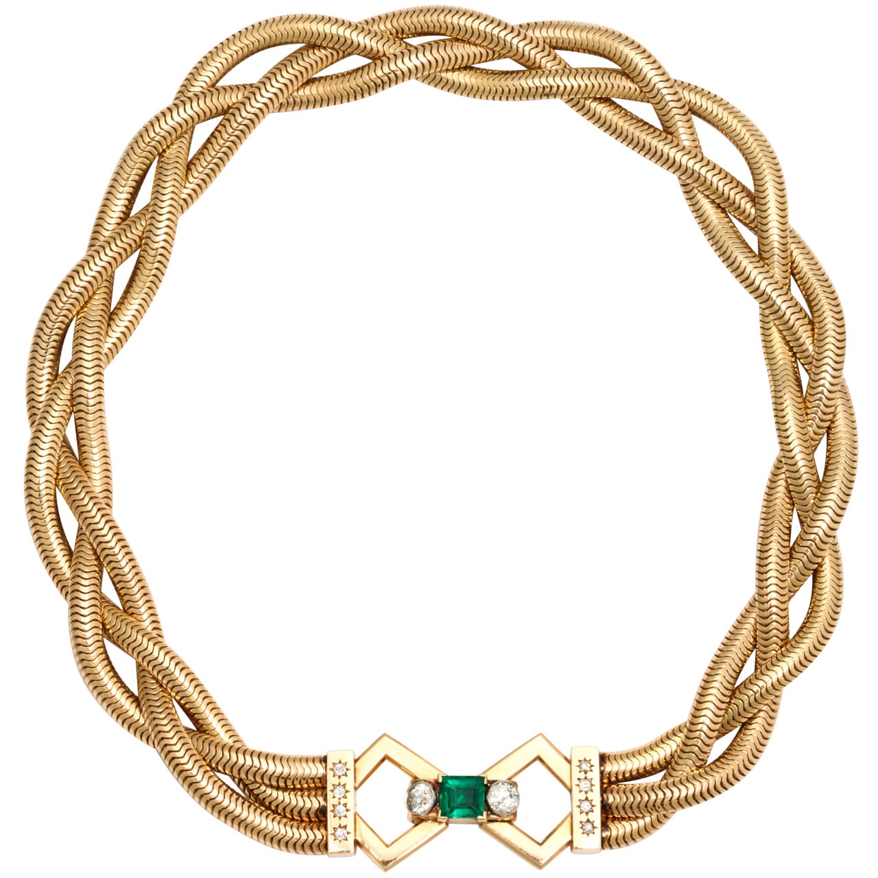 Triple interlocking gold strand necklace with columbian for Triple j fine jewelry
