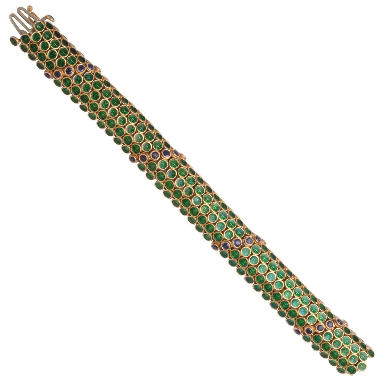 Green Enamel & Sapphire Half Round Barrel Bracelet