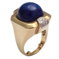 Monumental Lapis &diamond Ring