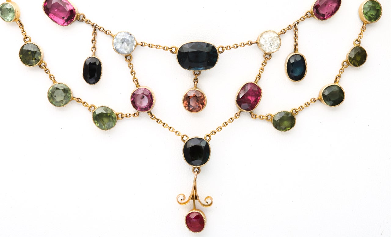 Rainbow Gem Set Victorian Necklace at 1stdibs