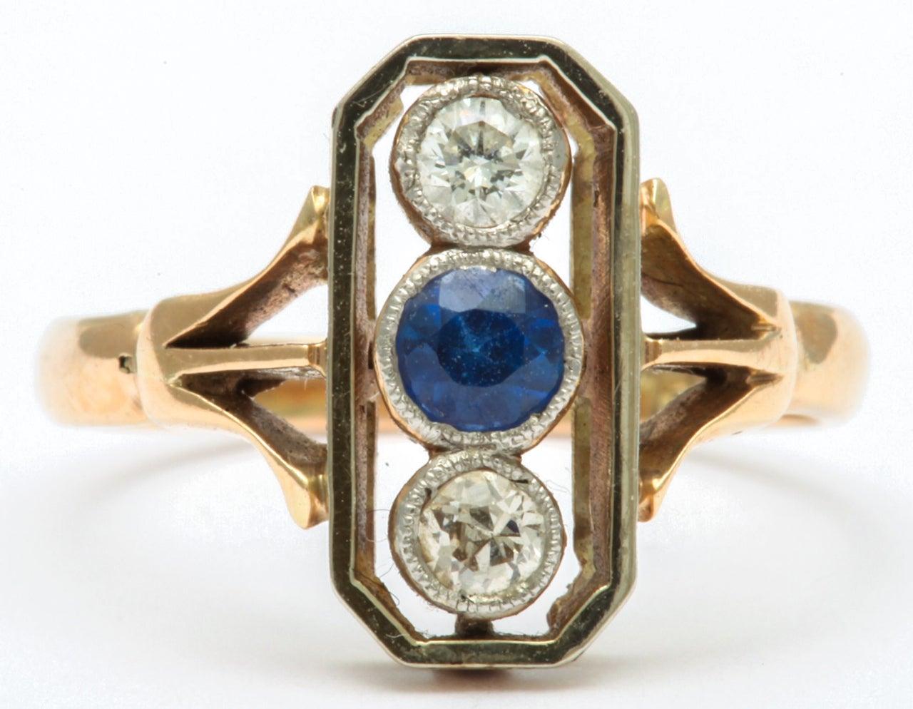 Edwardian Alluring Platinum Set Sapphire and Diamond Pinky Ring