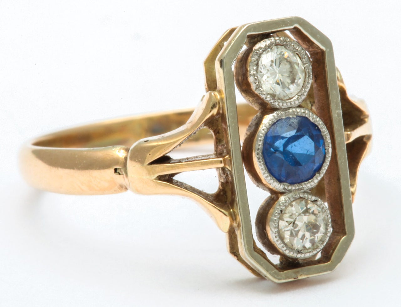 Alluring Platinum Set Sapphire and Diamond Pinky Ring In Excellent Condition In Stamford, CT