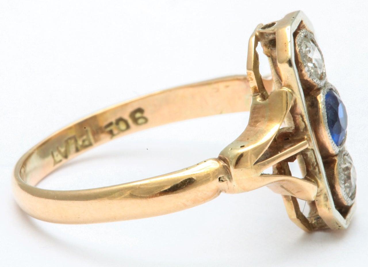 Women's Alluring Platinum Set Sapphire and Diamond Pinky Ring