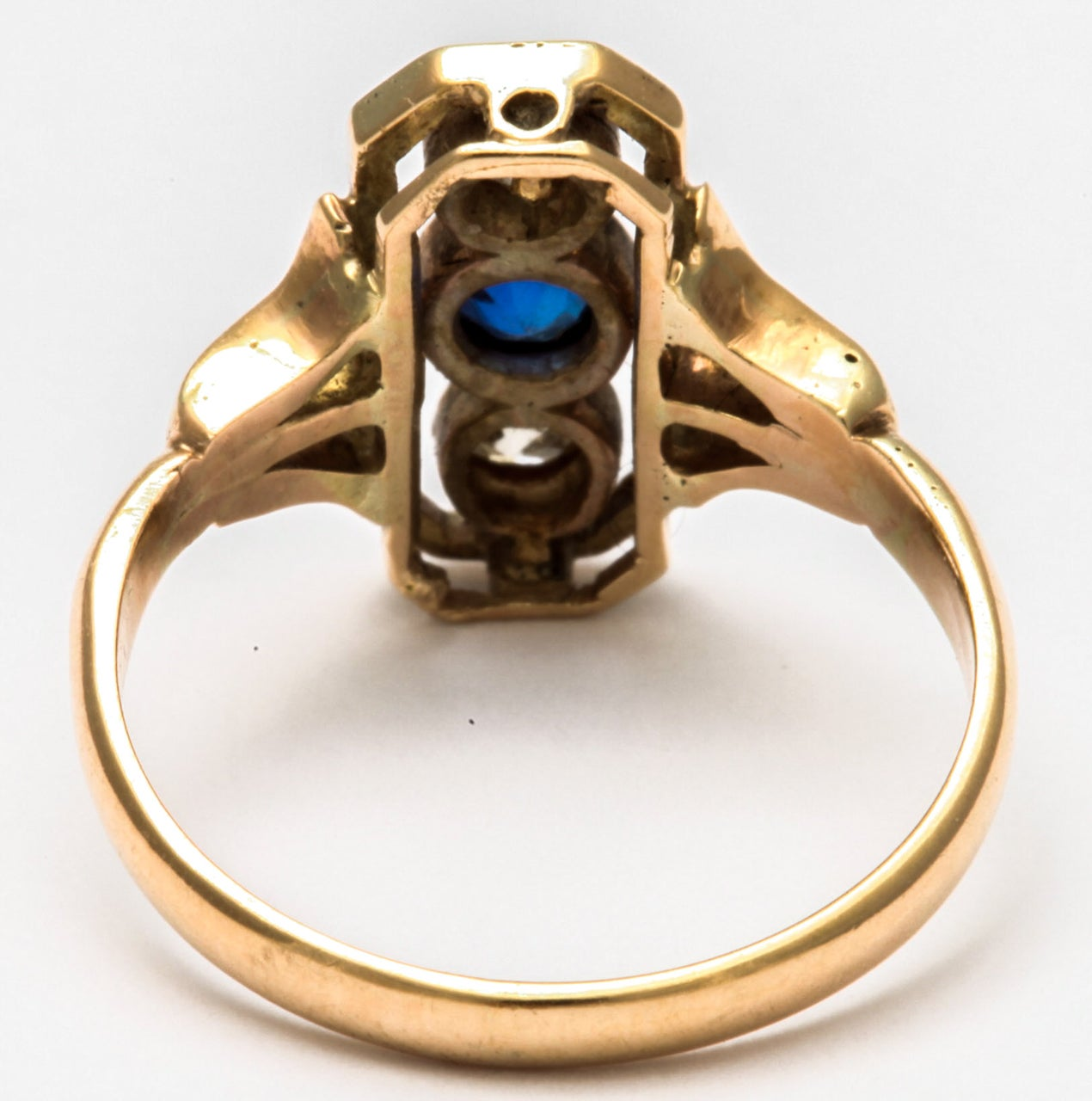 Alluring Platinum Set Sapphire and Diamond Pinky Ring 1