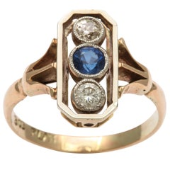 Alluring Platinum Set Sapphire and Diamond Pinky Ring