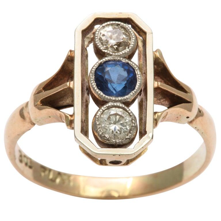Alluring Platinum Set Sapphire and Diamond Pinky Ring