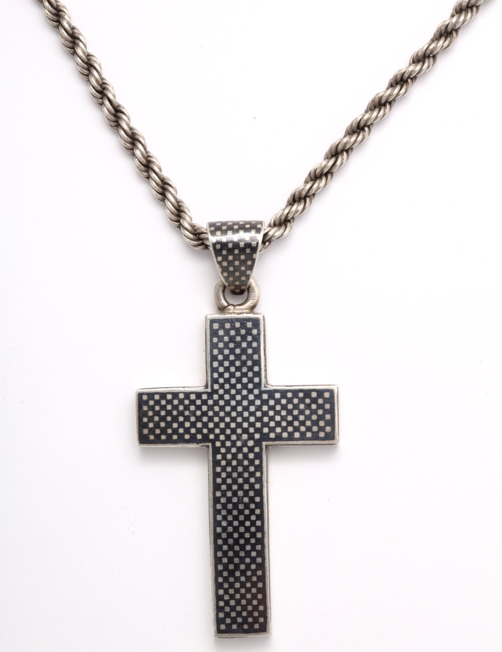 Victorian Niello Cross on a Rope chain 2