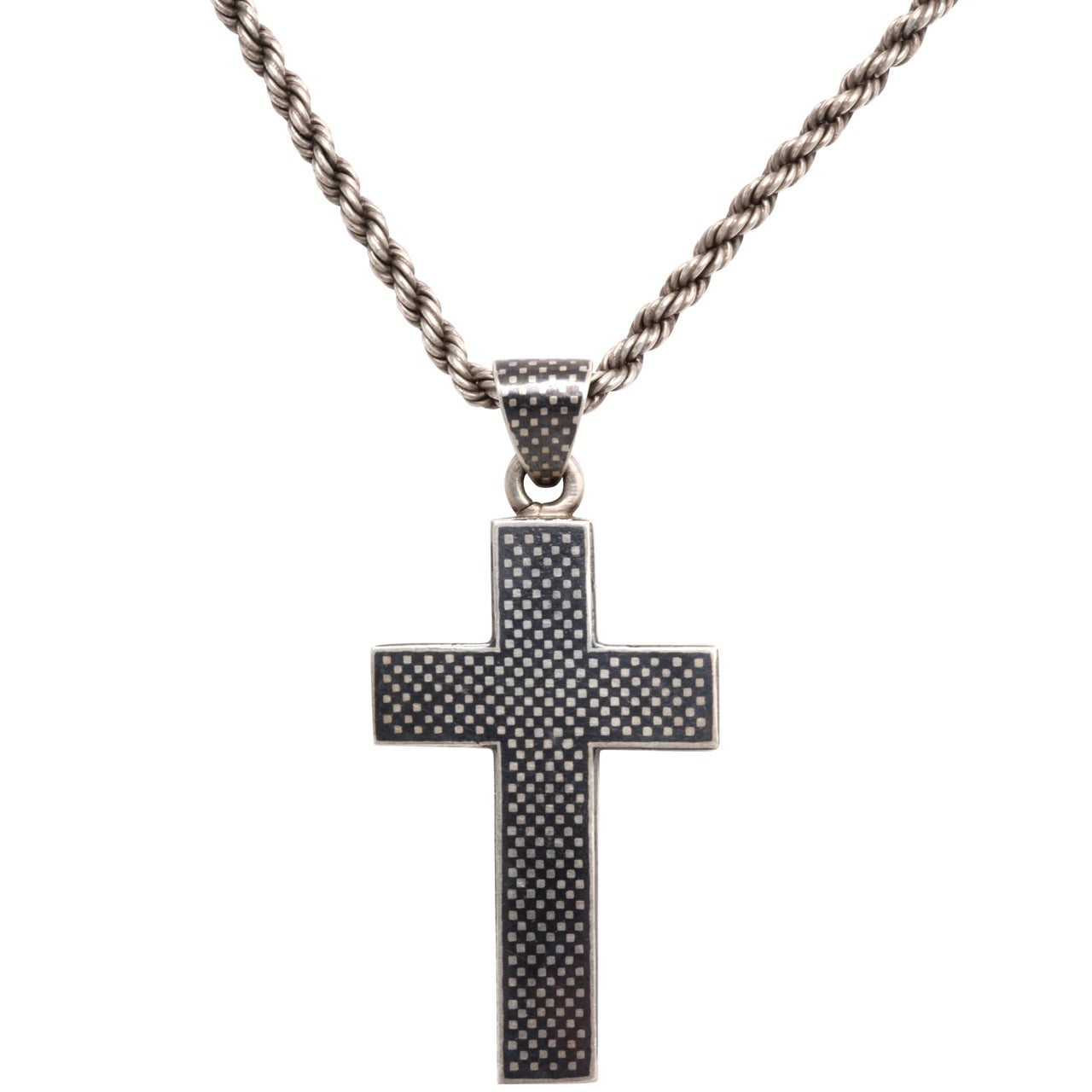 Victorian Niello Cross on a Rope chain For Sale