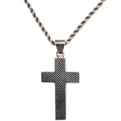 Victorian Niello Cross on a Rope chain