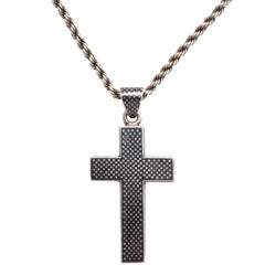 Victorian Niello Cross on a Rope chain