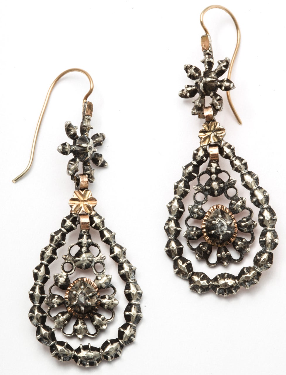 Georgian Chandelier Earrings Embellished with Antique Diamonds at ...