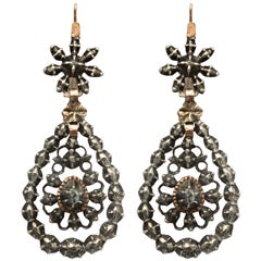 Georgian Chandelier Earrings Embellished with Antique Diamonds