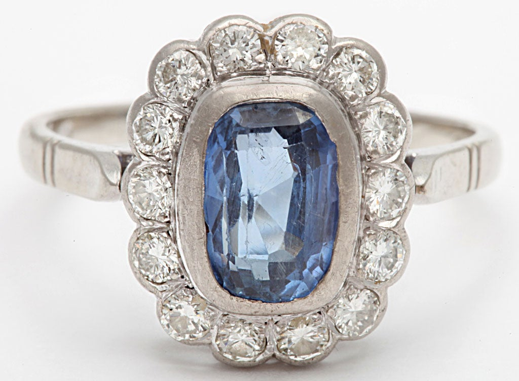 Sapphire and Diamond White Gold Cluster Ring 2