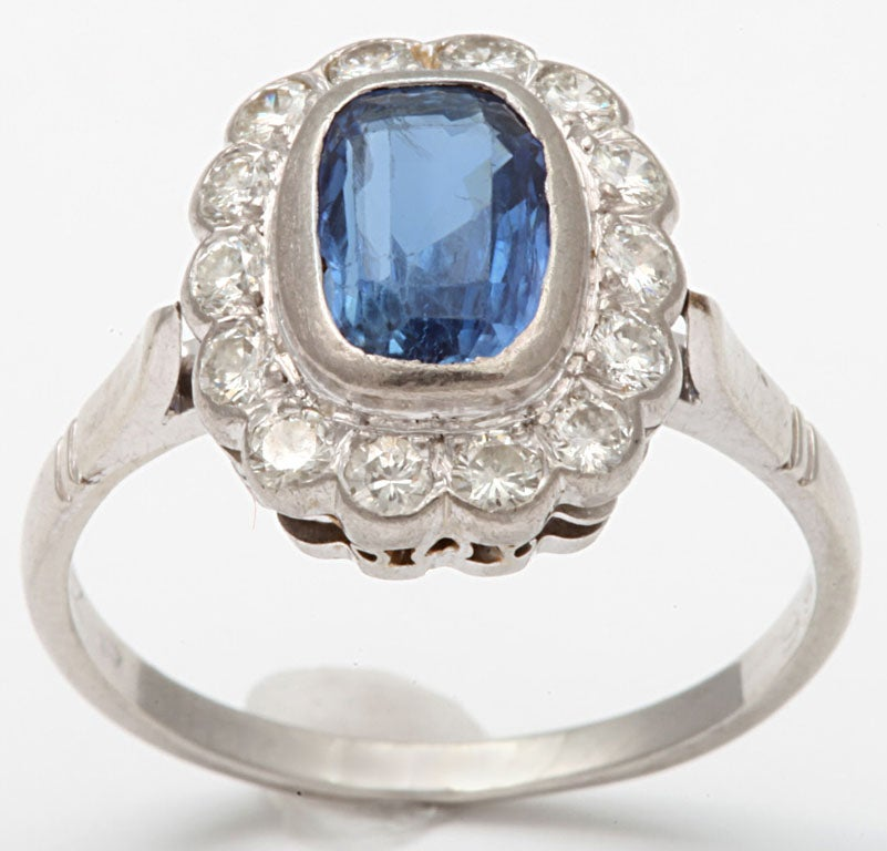 Sapphire and Diamond White Gold Cluster Ring 3