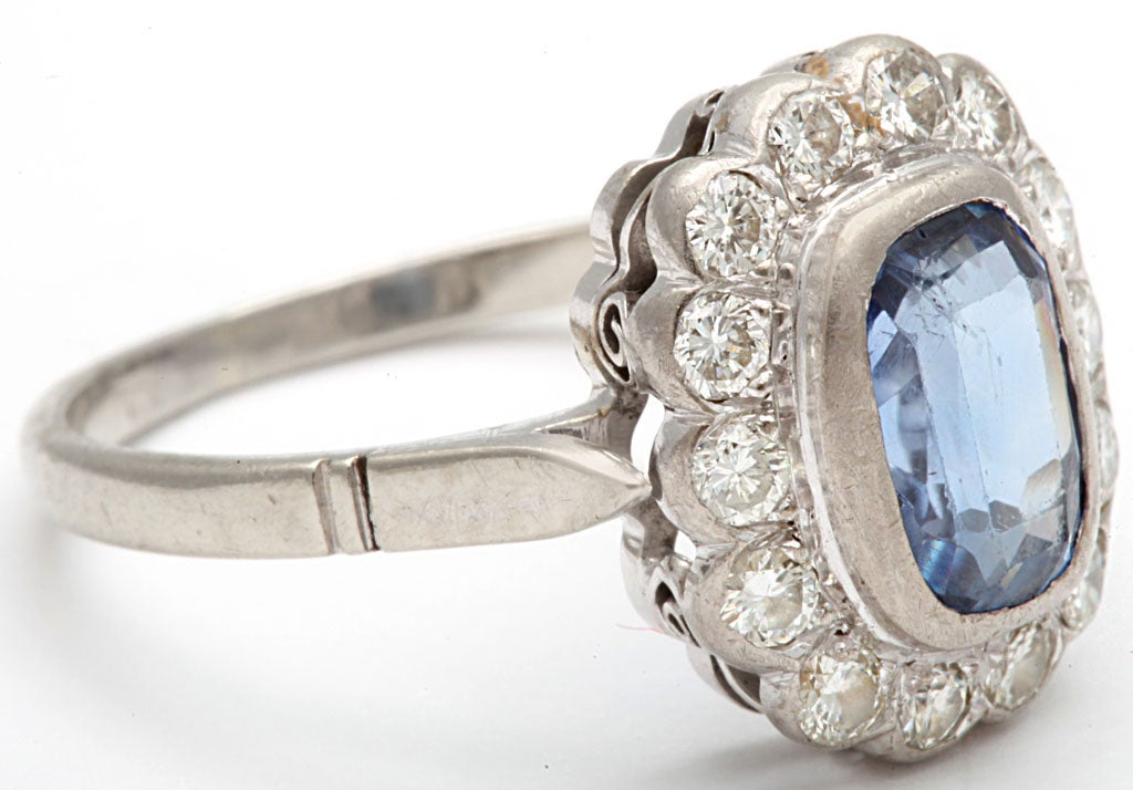 Sapphire and Diamond White Gold Cluster Ring 4