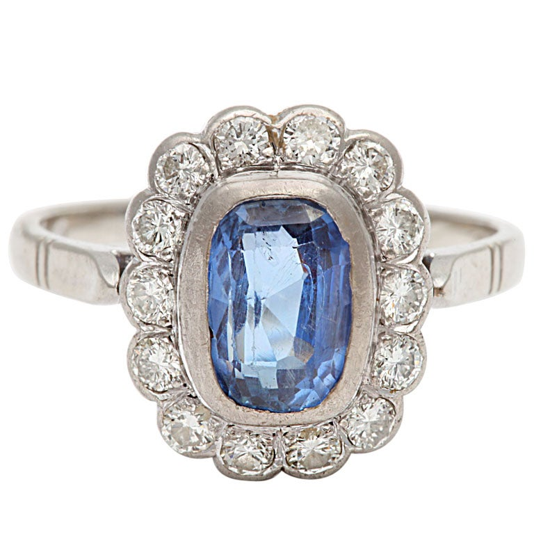Sapphire and Diamond White Gold Cluster Ring 1