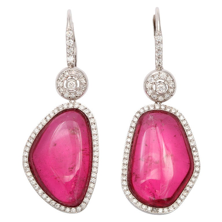 Pink Tourmaline Asymetrical Earrings For Sale