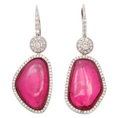 Pink Tourmaline Asymetrical Earrings