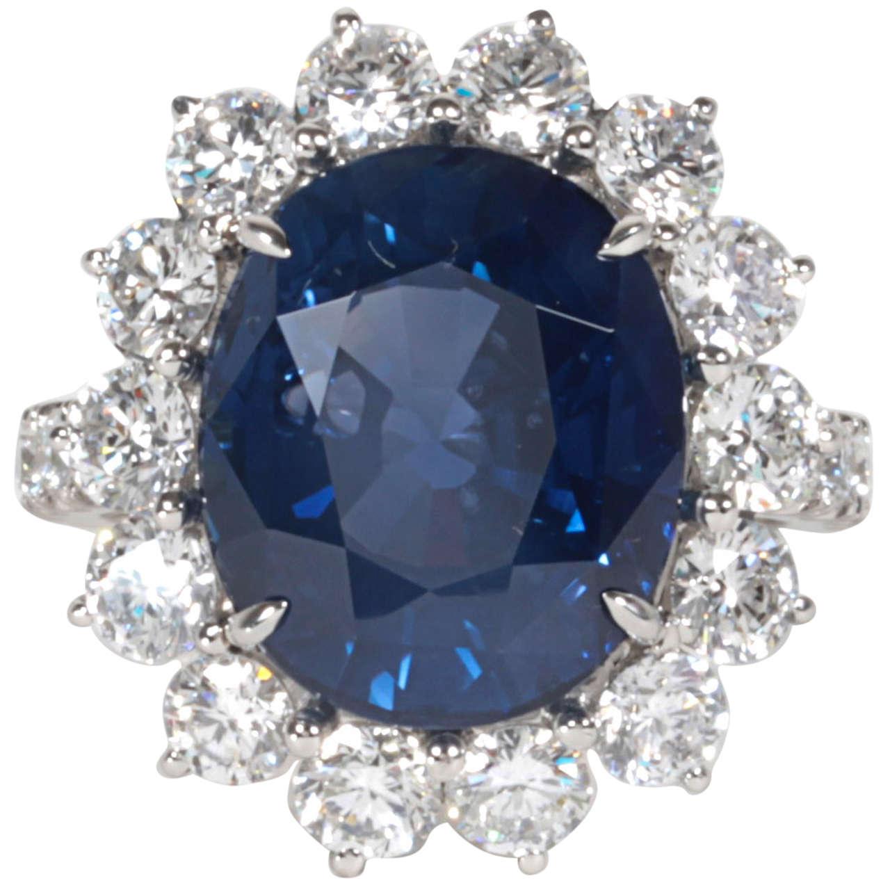Elegant 11.73 Carat GIA Certified Sapphire Diamond Platinum Ring