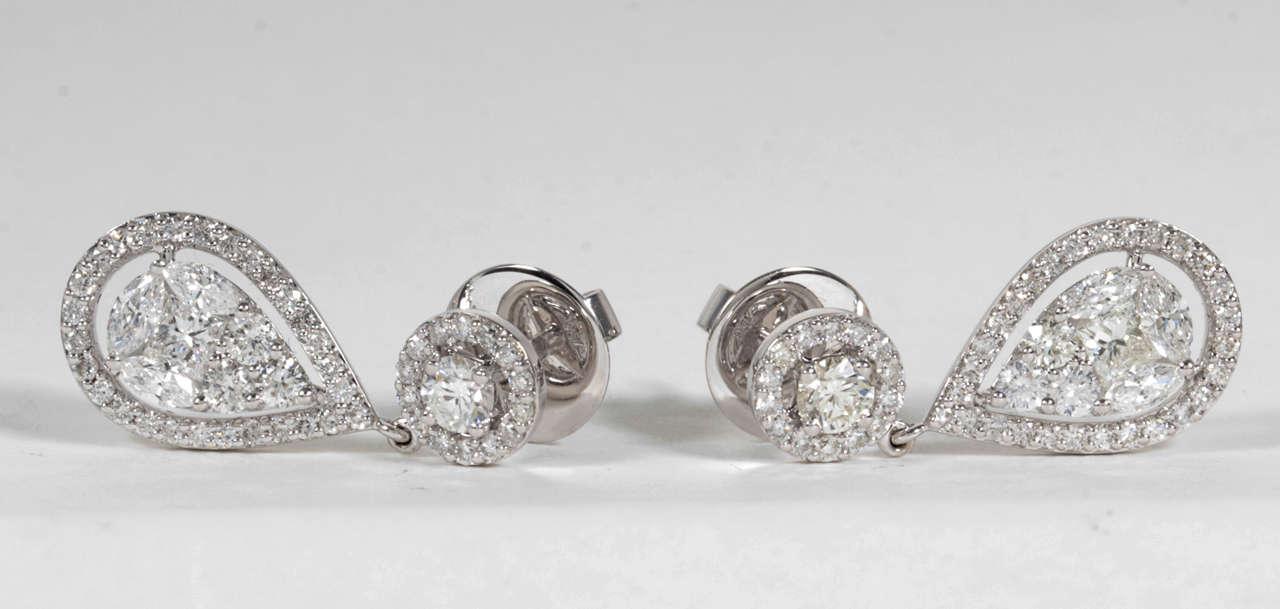 Elegant Illusion Diamond Dangle Earrings 4