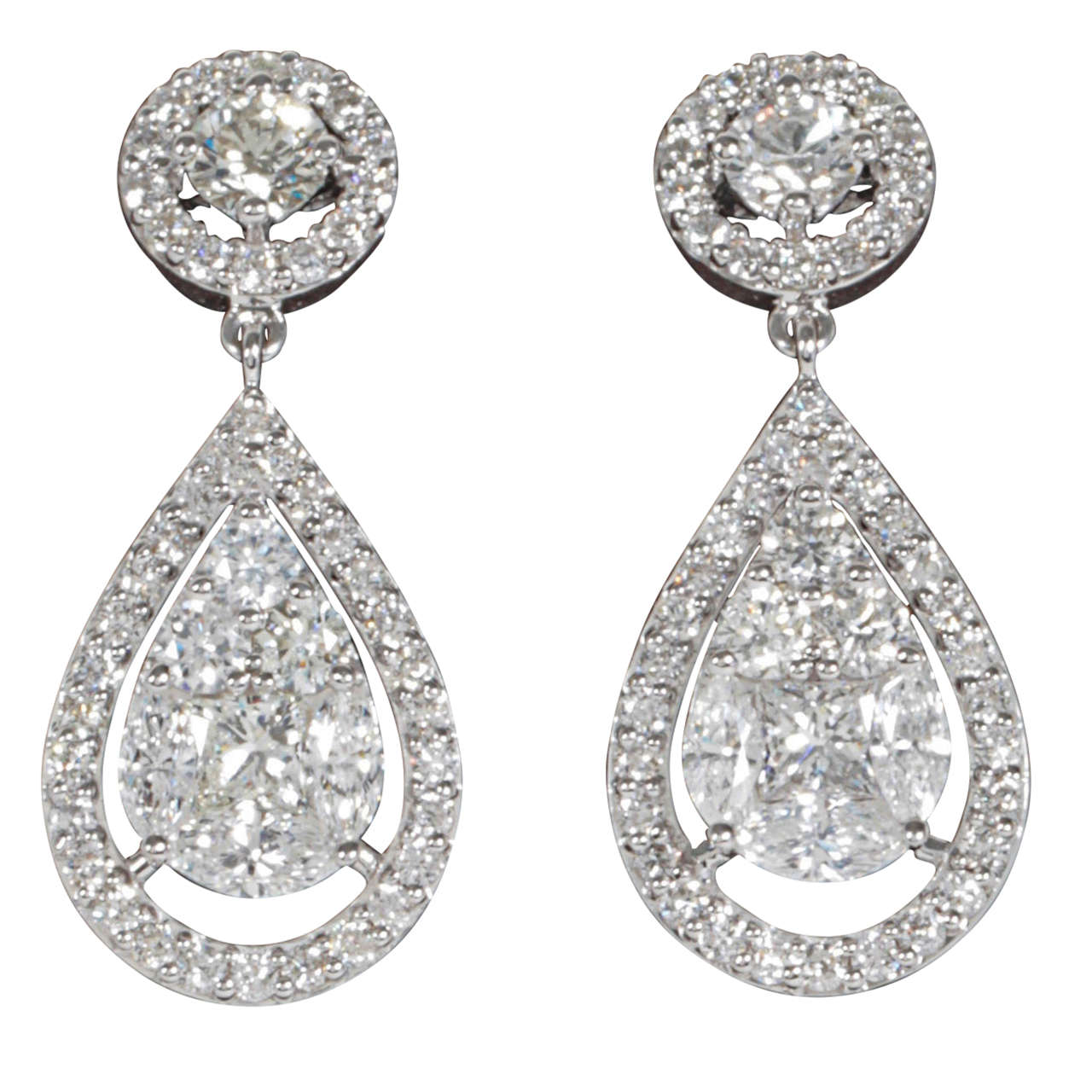 Elegant Illusion Diamond Dangle Earrings At 1stdibs