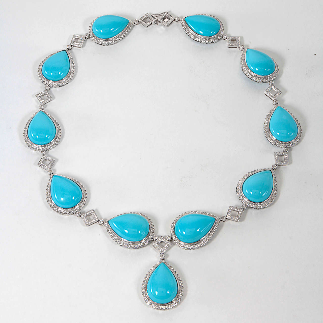 Turquoise and Diamond Necklace and Earring Set 2
