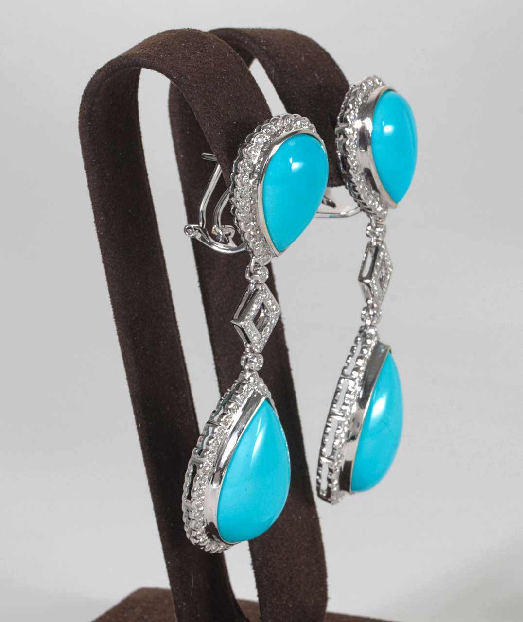 Turquoise and Diamond Necklace and Earring Set 3