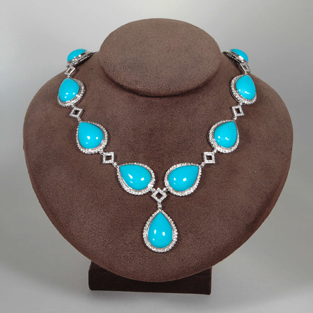 Turquoise and Diamond Necklace and Earring Set 4