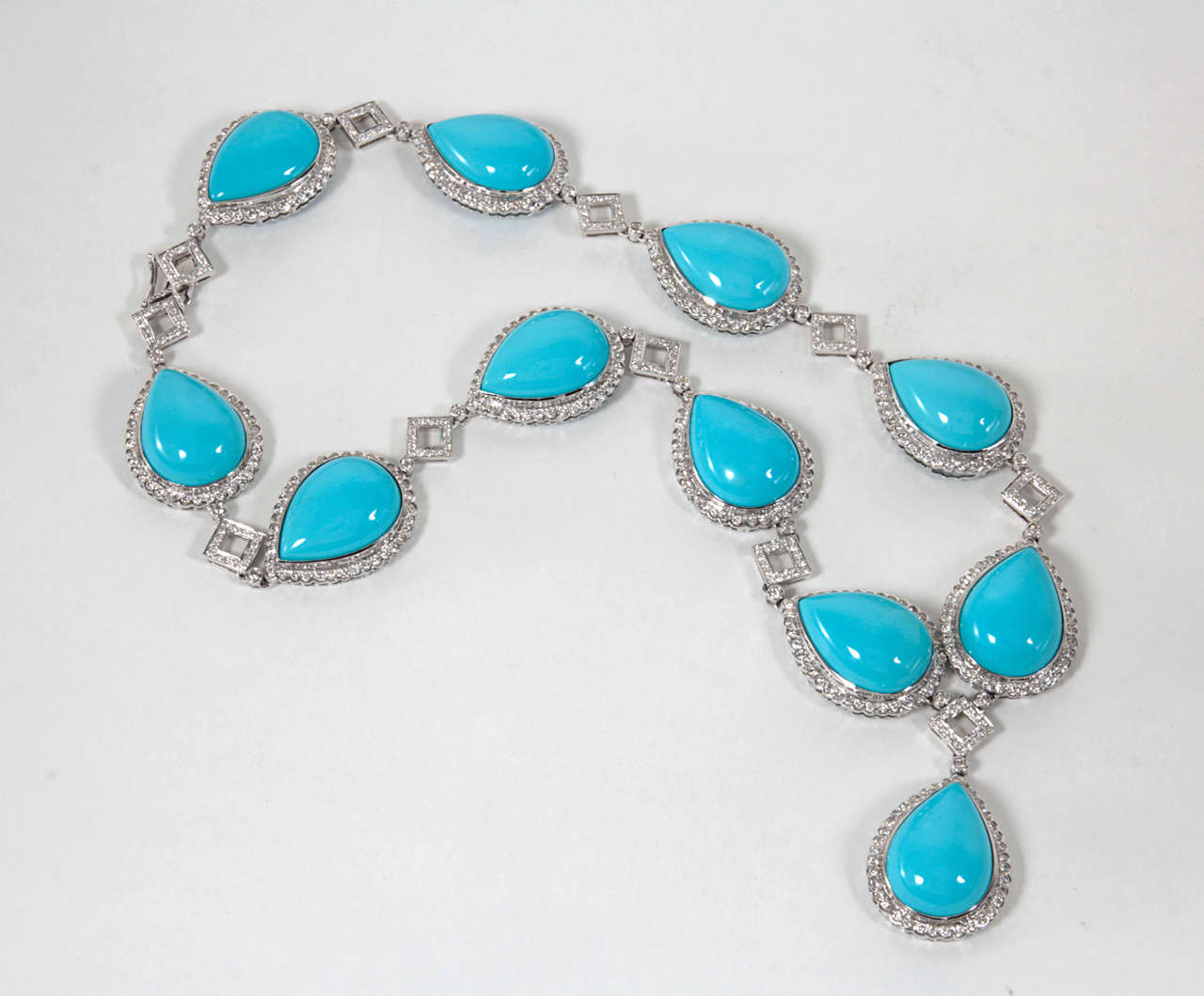 Turquoise and Diamond Necklace and Earring Set 5