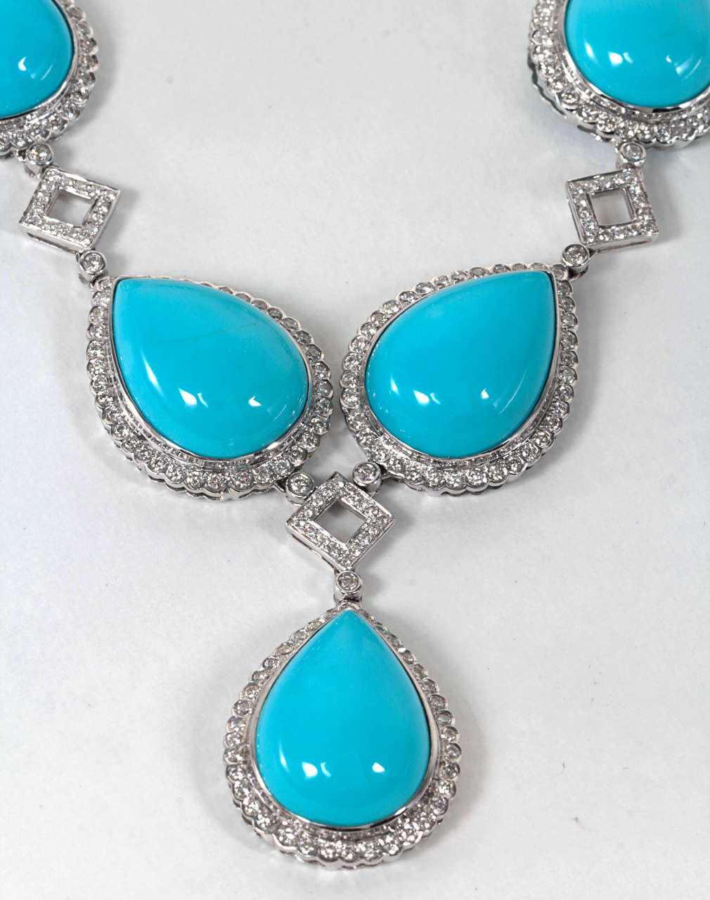Turquoise and Diamond Necklace and Earring Set 6