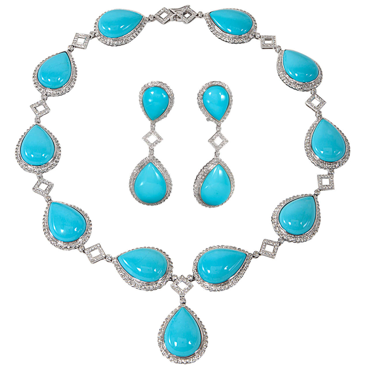 Turquoise And Diamond Necklace And Earring Set For Sale At 1stdibs