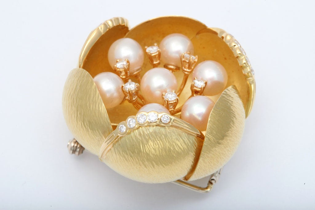 Cultured Pearl &diamond Oversized Floral Brooch For Sale 1
