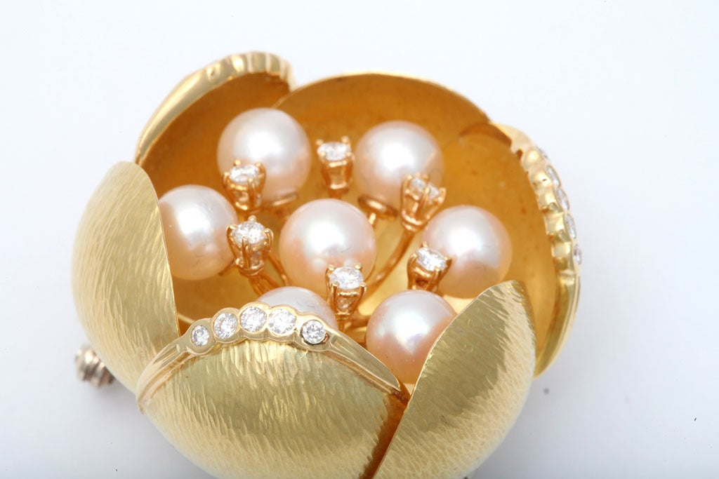 Cultured Pearl &diamond Oversized Floral Brooch For Sale 4