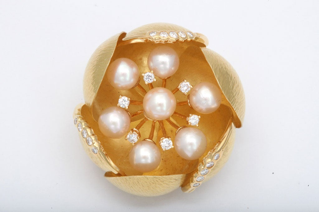 Oversized 18kt Yellow Gold Pin with Pearl Pistils & Diamond Stamens.  Budding Petals are alternately Diamond edged. Over the top. Signed CIT, 750 & Italian control marks