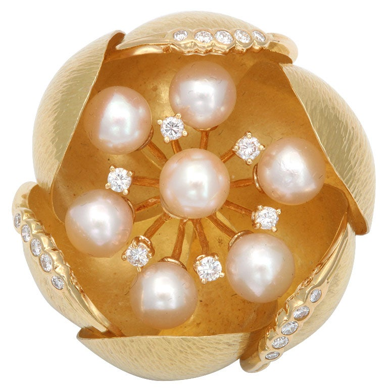 Cultured Pearl &diamond Oversized Floral Brooch For Sale