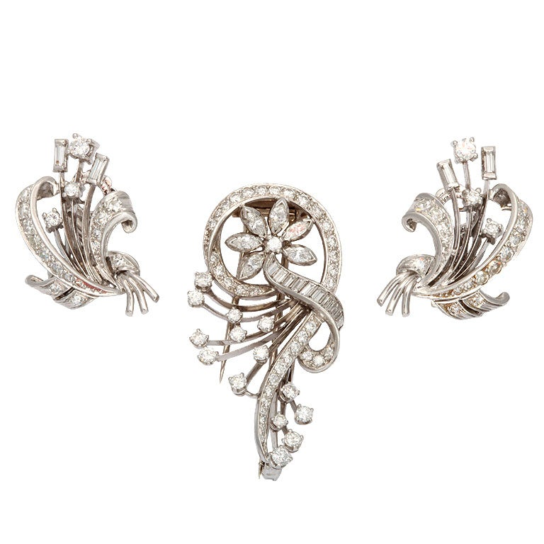 Retro White Gold Earring & Pin Suite